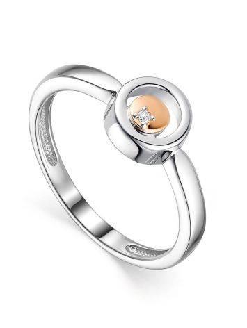 Стильное серебряное кольцо с бриллиантом и золотым элементом «Дива», Размер кольца: 16.5, фото