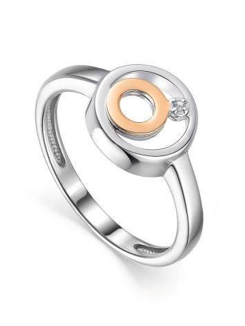 Эффектное серебряное кольцо с бриллиантом и золотыми элементами «Дива», Размер кольца: 16.5, фото
