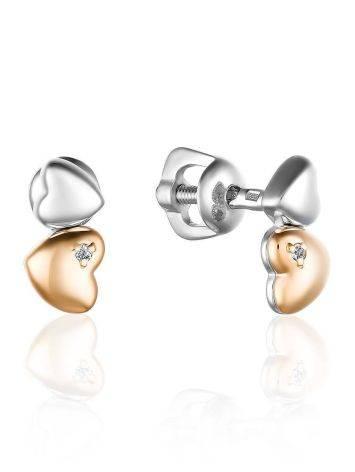 Бриллиантовые пусеты-сердечки в золоте и серебре «Дива», фото