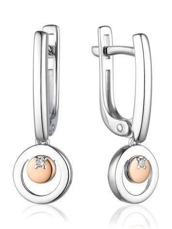 Стильные серебряные серьги с бриллиантами и золотыми подвесками «Дива», фото