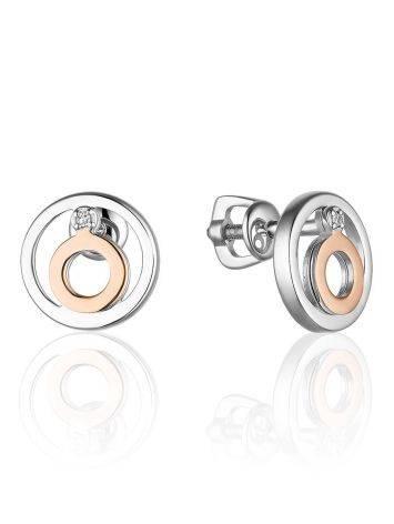 Стильное серебряное кольцо с бриллиантом и золотыми деталями «Дива», фото