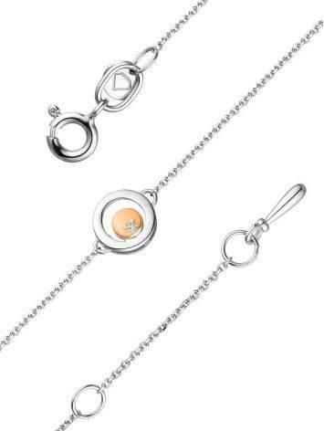 Тонкий серебряный браслет с бриллиантом и золотым элементом «Дива», фото , изображение 3