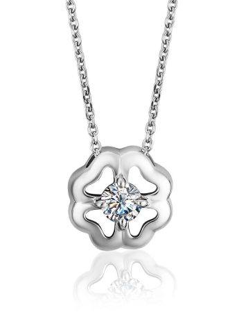 Легкое серебряное колье с подвеской в форме цветка и фианитом, фото
