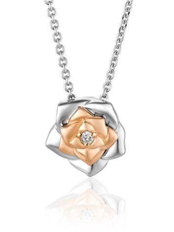 Серебряное колье с бриллиантом и золотыми элементами «Дива», фото