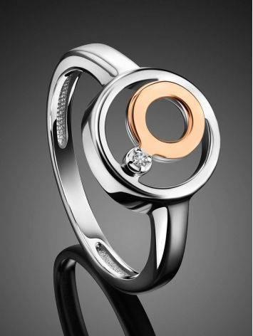 Эффектное серебряное кольцо с бриллиантом и золотыми элементами «Дива», Размер кольца: 16.5, фото , изображение 2