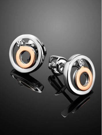 Стильное серебряное кольцо с бриллиантом и золотыми деталями «Дива», фото , изображение 2
