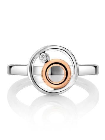 Эффектное серебряное кольцо с бриллиантом и золотыми элементами «Дива», Размер кольца: 16.5, фото , изображение 3
