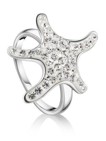 Серебряное кольцо со стразами в морском стиле Jungle, Размер кольца: 17.5, фото