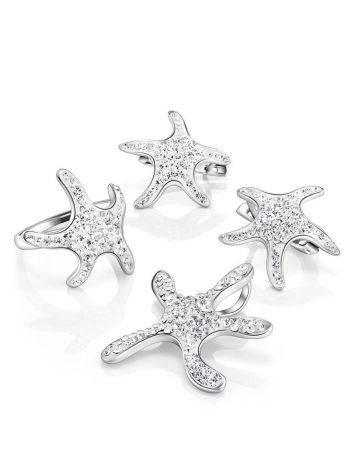 Серебряное кольцо со стразами в морском стиле Jungle, Размер кольца: 17.5, фото , изображение 5
