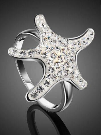 Серебряное кольцо со стразами в морском стиле Jungle, Размер кольца: 17.5, фото , изображение 2