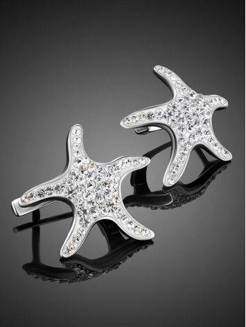 Серебряные серьги в морском стиле со стразами Jungle, фото , изображение 2