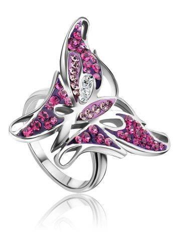 Крупное серебряное кольцо в форме бабочки Jungle, Размер кольца: 16, фото