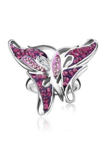 Крупное серебряное кольцо в форме бабочки Jungle, Размер кольца: 16, фото , изображение 4