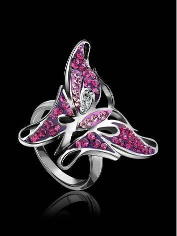 Крупное серебряное кольцо в форме бабочки Jungle, Размер кольца: 16, фото , изображение 2