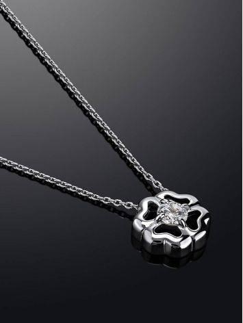 Легкое серебряное колье с подвеской в форме цветка и фианитом, фото , изображение 2