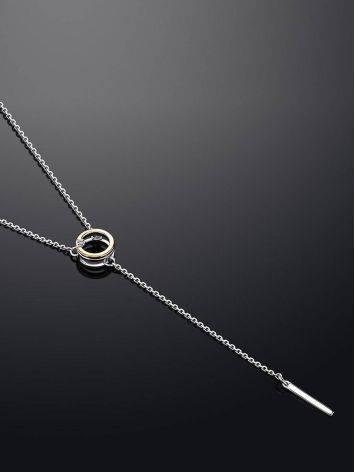 Необычное серебряное колье с круглой золотой подвеской и бриллиантом «Дива», фото , изображение 2