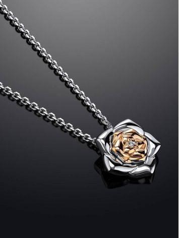Серебряное колье с бриллиантом и золотыми элементами «Дива», фото , изображение 2