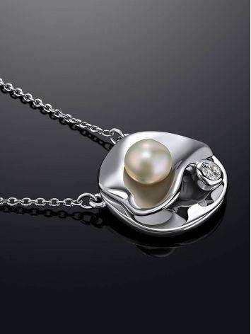 Нежное серебряное колье с жемчужной подвеской круглой формы «Ариэль», фото , изображение 2
