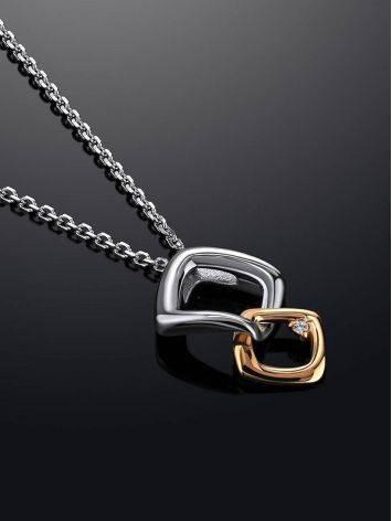 Серебряное колье с геометричной бриллиантовой подвеской «Дива», фото , изображение 2