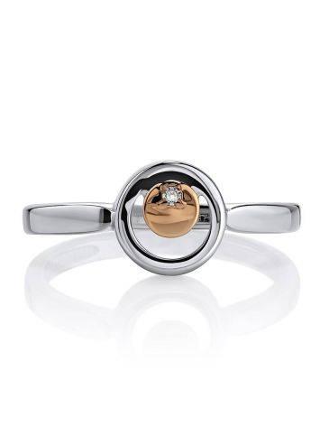Стильное серебряное кольцо с бриллиантом и золотым элементом «Дива», Размер кольца: 16.5, фото , изображение 3