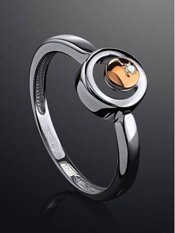 Стильное серебряное кольцо с бриллиантом и золотым элементом «Дива», Размер кольца: 16.5, фото , изображение 2