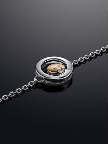 Тонкий серебряный браслет с бриллиантом и золотым элементом «Дива», фото , изображение 2