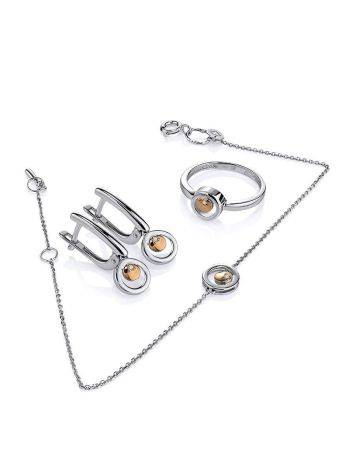 Тонкий серебряный браслет с бриллиантом и золотым элементом «Дива», фото , изображение 4