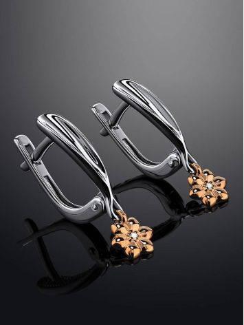 Нежные бриллиантовые серьги в золоте и серебре «Дива», фото , изображение 2