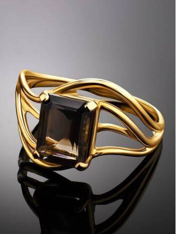 Яркое золотое кольцо с раухтопазом геометричной формы, Размер кольца: 17.5, фото , изображение 2