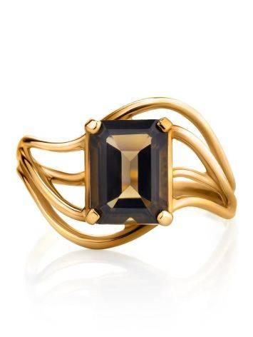 Яркое золотое кольцо с раухтопазом геометричной формы, Размер кольца: 17.5, фото , изображение 4