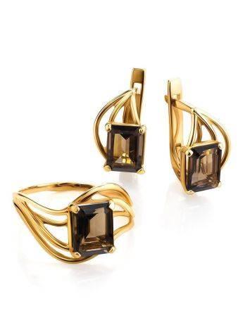 Яркое золотое кольцо с раухтопазом геометричной формы, Размер кольца: 17.5, фото , изображение 5