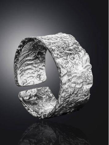 Широкое стильное кольцо из серебра с необычной фактурой Liquid, Размер кольца: б/р, фото , изображение 2