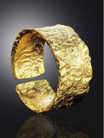Широкое стильное кольцо из позолоченного серебра с необычной фактурой Liquid, Размер кольца: б/р, фото , изображение 2