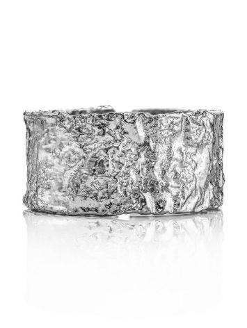 Широкое стильное кольцо из серебра с необычной фактурой Liquid, Размер кольца: б/р, фото , изображение 3