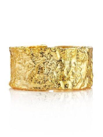 Широкое стильное кольцо из позолоченного серебра с необычной фактурой Liquid, Размер кольца: б/р, фото , изображение 3