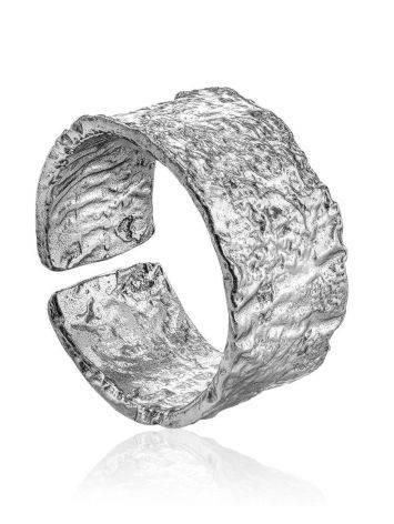 Широкое стильное кольцо из серебра с необычной фактурой Liquid, Размер кольца: б/р, фото