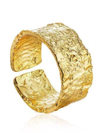Широкое стильное кольцо из позолоченного серебра с необычной фактурой Liquid, Размер кольца: б/р, фото