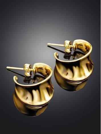 Эффектные серьги-гвоздики из позолоченного серебра Liquid, фото , изображение 2