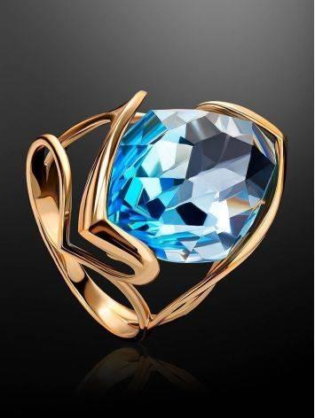 Золотое коктейльное кольцо с голубым топазом, Размер кольца: 17.5, фото , изображение 2