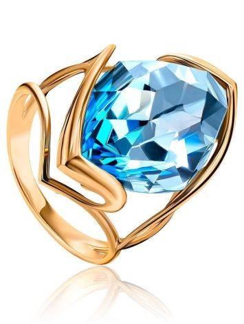 Золотое коктейльное кольцо с голубым топазом, Размер кольца: 17.5, фото