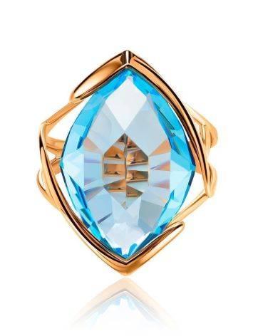 Золотое коктейльное кольцо с голубым топазом, Размер кольца: 17.5, фото , изображение 3