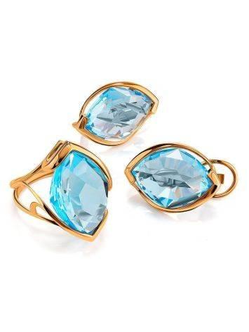 Золотое коктейльное кольцо с голубым топазом, Размер кольца: 17.5, фото , изображение 4