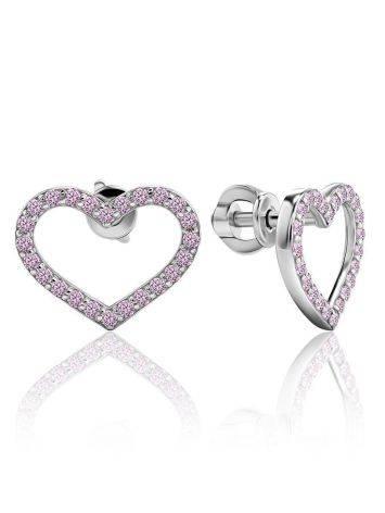 Нежные серебряные серьги-сердечки с кристаллами «Аврора», фото