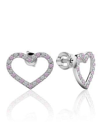 Милые серебряные серьги-сердечки с кристаллами двух тонов «Аврора», фото