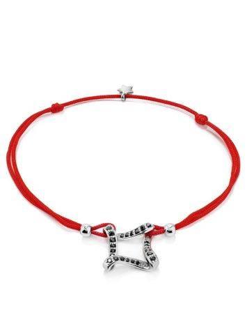 Браслет на красной нити со вставкой из серебря и фианитов, Длина: 16, фото