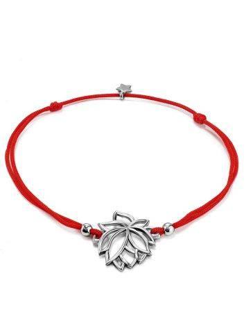 Браслет на красной нити с серебряной подвеской в виде лотоса, Длина: 16, фото