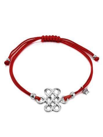 Браслет-красная нить с ажурной вставкой из серебра, фото