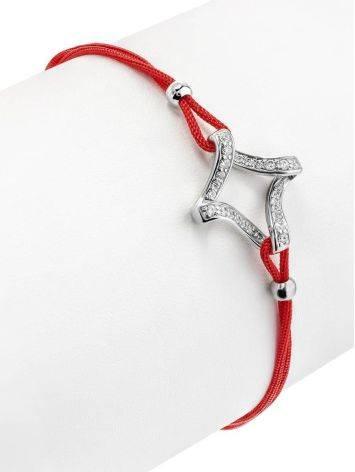 Браслет на красной нити с ажурной серебряной вставкой, Длина: 16, фото , изображение 3