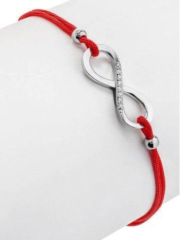 Браслет-красная нить с серебряной вставкой в виде знака бесконечности, Длина: 18, фото , изображение 3