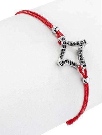 Браслет на красной нити со вставкой из серебря и фианитов, Длина: 16, фото , изображение 3